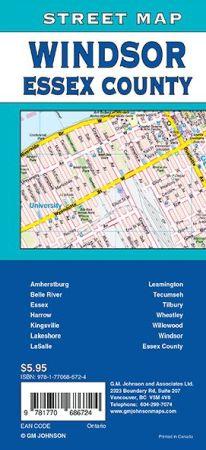 Windsor and Essex City Street Map, Ontario, Canada.