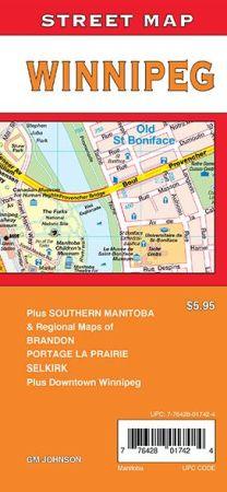 Winnipeg City Street Map, Ontario, Canada.