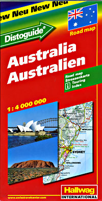 """Australia Road and Shaded Relief Tourist Map, with """"Distoguide""""."""