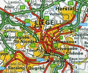Belgium and Luxembourg Road and Shaded Relief Tourist Map.
