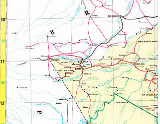 Bolivia Road, Political, Physical, and Shaded Relief Map.