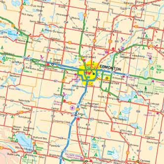 Alberta Road and Physical Travel Reference Map.