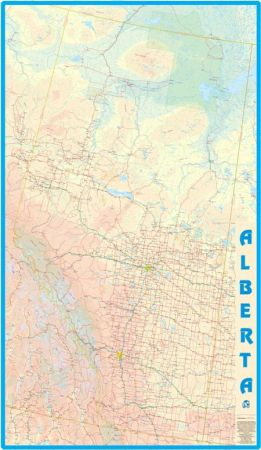 Alberta WALL Map, Canada.