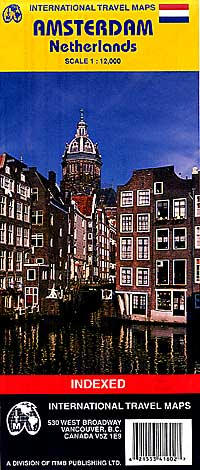 AMSTERDAM Physical Travel Reference Map, Netherlands.
