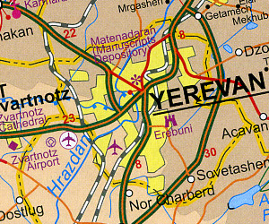 Azerbaijan and Armenia, Road and Travel Reference Map.