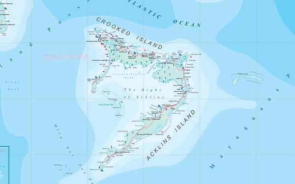 Bahamas Road and Physical Travel Reference Map.