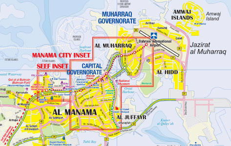 Bahrain Road and Physical Travel Reference Map.