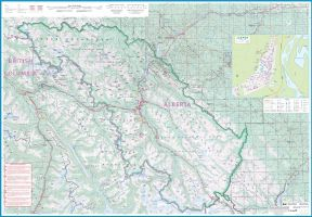 Banff & Jasper National Park, Road and Physical Travel Reference Map, British Columbia and Alberta, Canada.