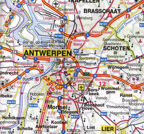 Belgium and Luxembourg, Road and Physical Travel Reference Map.