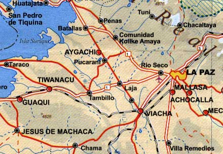 Bolivia Road and Physical Travel Reference Map.