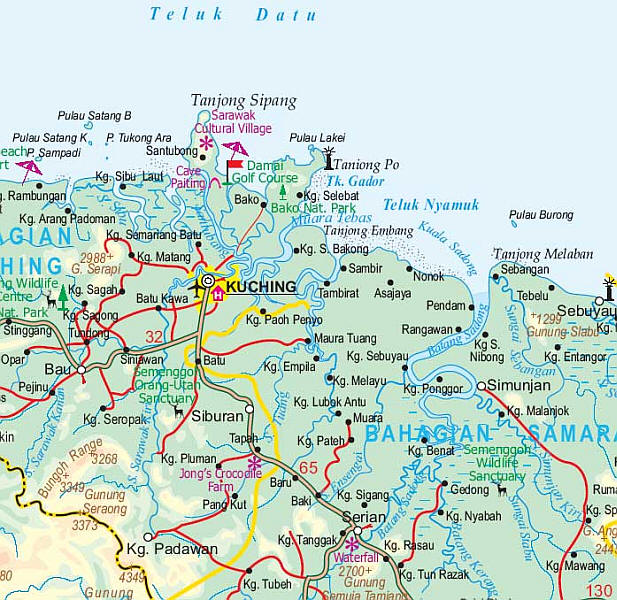Borneo Physical Travel Reference Map, Indonesia.