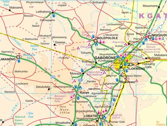Botswana Road and Physical Travel Reference Map.