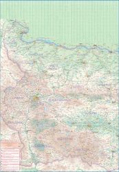 Bulgaria Railway and Road and Physical Travel Reference Map.