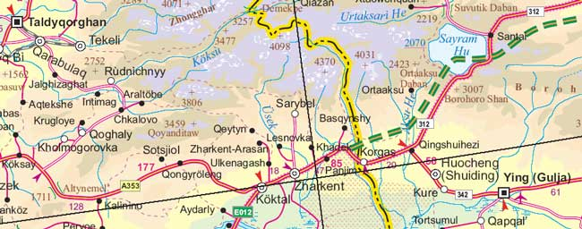 Central Asia Road and Physical Travel Reference Map.