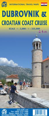 Dubrovnik & Croatian Coast Cruise Road and Physical Travel Reference Map.