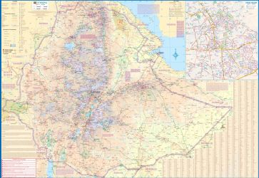 Ethiopia & Eritrea Road and Physical Travel Reference Map.