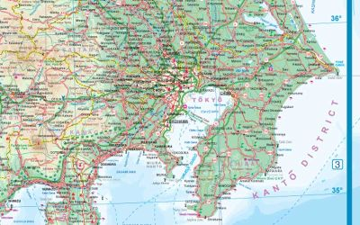Japan Road and Physical, Travel Reference Road Map.