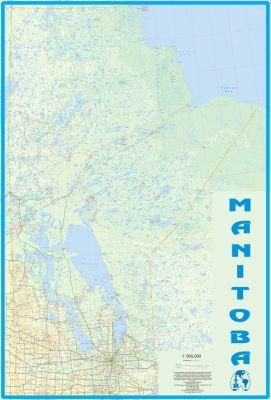 Manitoba WALL map, Canada.