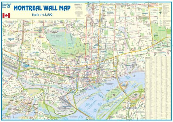 Montreal WALL map, Canada.