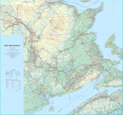 New Brunswick WALL map, Canada.