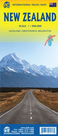 New Zealand, Road and Physical Travel Reference Map.