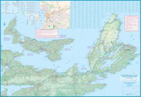 Nova Scotia Road and Physical Travel Reference Map.