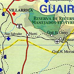 Paraguay Road and Tourist Map.