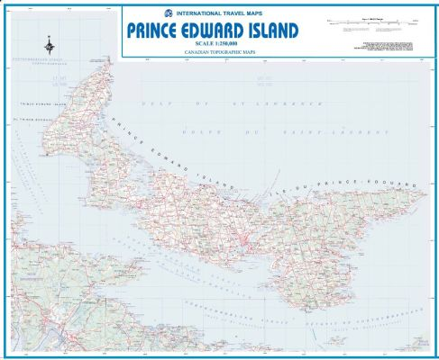 Prince Edward Island WALL map, Canada.