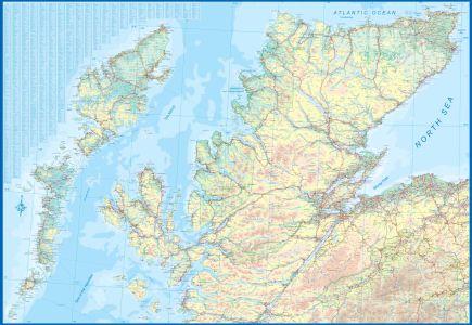 Scotland Far North & Islands Railway & Road Travel Reference Map America.