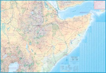 Somalia and Horn of Africa Road and Physical Travel Reference Map.