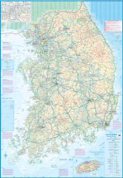 South Korea and Seoul Road and Physical Travel Reference Map.