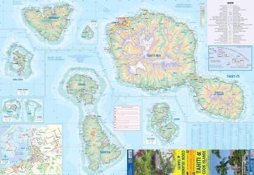 Tahiti & Cook Islands Road and Travel Reference Map.