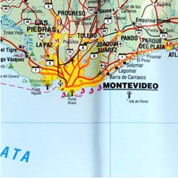 Uruguay Road and Travel Reference Physical Map.