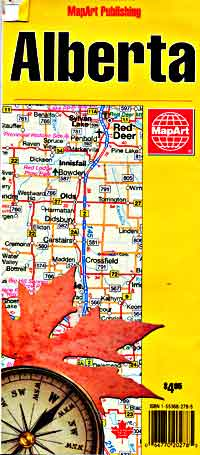 Alberta Province Road and Tourist Map, Canada.