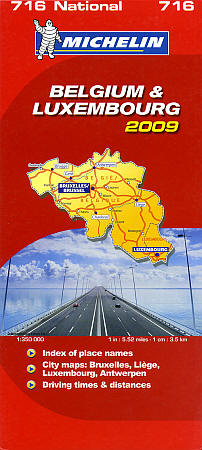 Belgium and Luxembourg, Road and Shaded Relief Tourist Map.