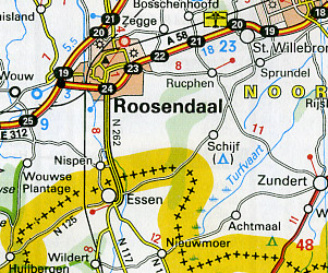 Benelux (Belgium, Netherlands, Luxembourg) Road and Shaded Relief Tourist Map.