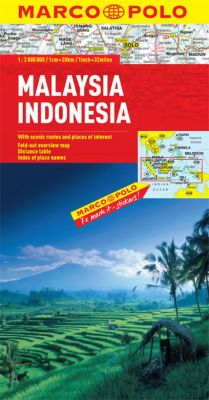 Malaysia and Indonesia Road and Tourist Map. Marco Polo edition.