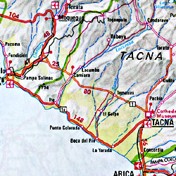 Bolivia and Paraguay, Road and Shaded Relief Map.