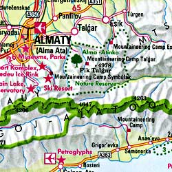 Central Asia, Road and Shaded Relief Tourist Map.