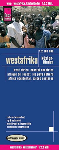 """West Africa """"Coastal Countries"""" Road and Topographic Tourist Map."""