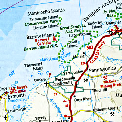Australia Road and Physical Tourist Road Map.