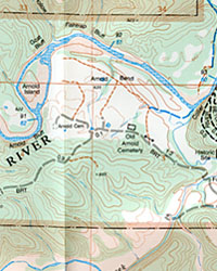 Buffalo River East, Road and Topographic Recreation Map, Arkansas, America.