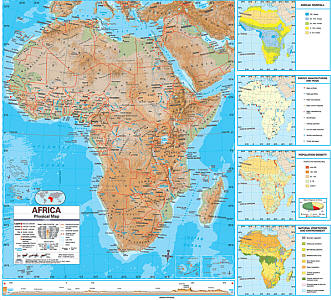 """Africa Advanced Physical """"Classroom"""" WALL Map On Roller with Back Board."""