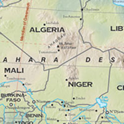 Africa Shaded Relief WALL Map.