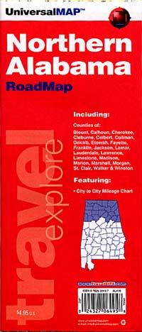 Alabama Northern Road and Tourist Map, America.