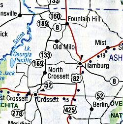 Arkansas and Louisiana, America.