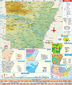 "Arkansas Secondary Thematic ""Classroom"" WALL Map."