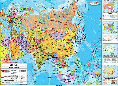"""Asia Advanced Political """"Classroom"""" WALL Map On Roller with Back Board."""
