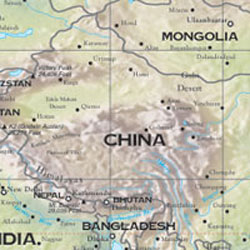 Asia Road and Shaded Relief Tourist Map.