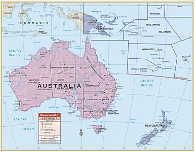 "Australia Primary ""Classroom"" WALL Map Railed."